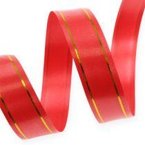 Ruban cadeau 2 bandes dorées sur fond rouge 19 mm 100 m