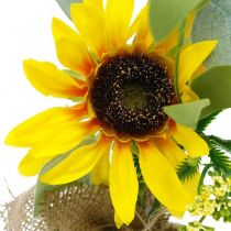 Tournesol artificiel, fleur en soie, décoration d'été, tournesol dans un sac de jute