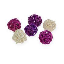 Balle en rotin lilas, mauve, blanc (72 p.)