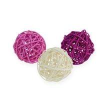 Balle en rotin lilas, mauve, blanc 5 cm 30 p.