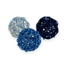 Boule en rotin bleu clair, bleu, bleu foncé 30pcs.