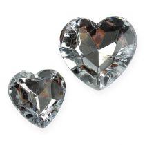 Mélange de cœurs d'acryl en argent 2cm - 3cm 120P