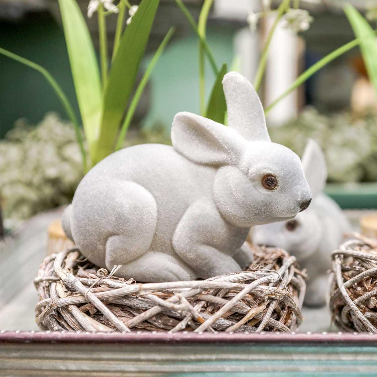 Figurine décorative lapin gris, décoration de printemps, lapin de Pâques assis floqué 3pcs
