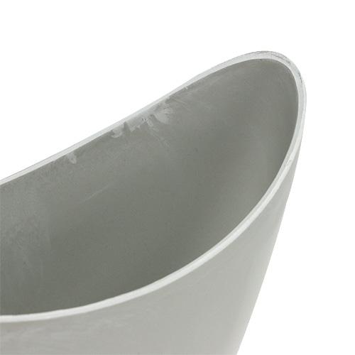 Bol décoratif en plastique gris 20cm x 9cm H11,5cm, 1pc