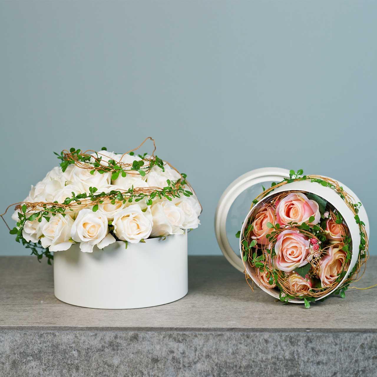 Boîte à fleurs ronde en carton crème Ø15,5 / 19cm lot de 2