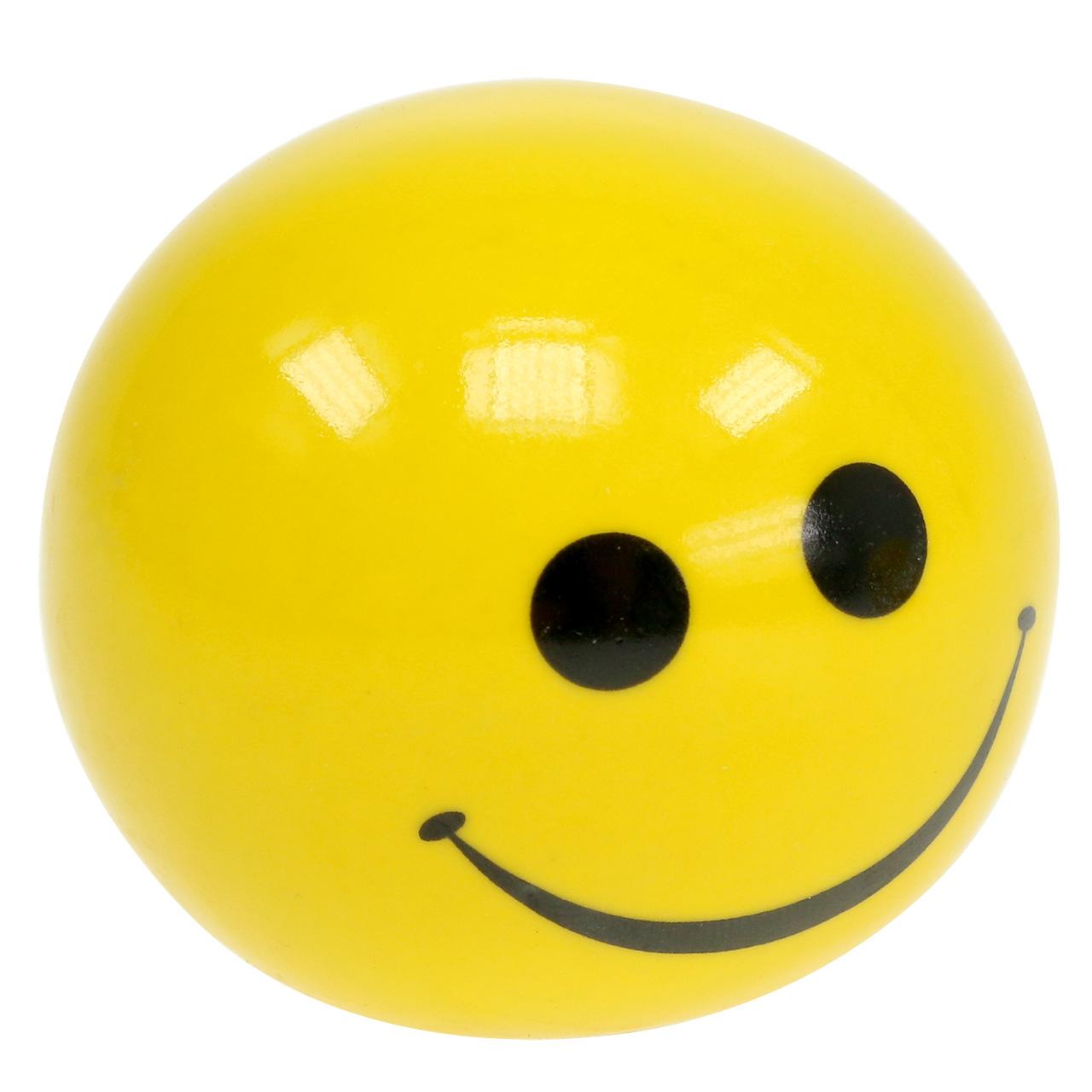 Boule en céramique avec Smeili jaune Ø5cm H4.5cm 6pcs