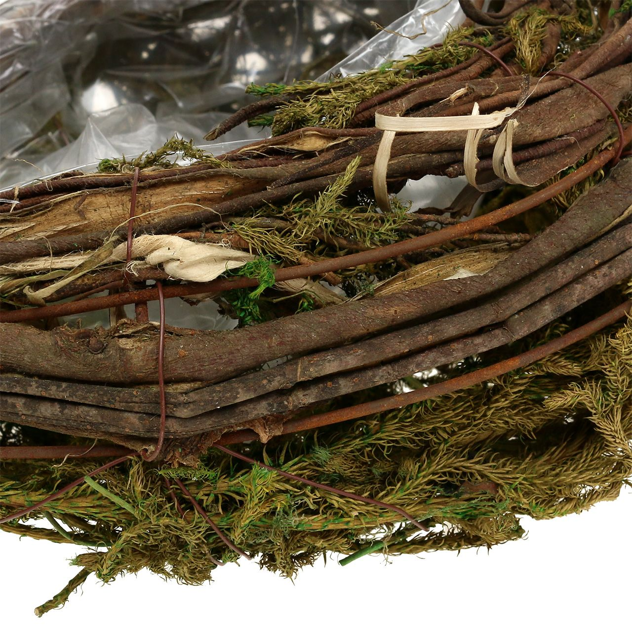 Récipient à plantes en sarments de vigne et mousse végétale 35 x 20 cm