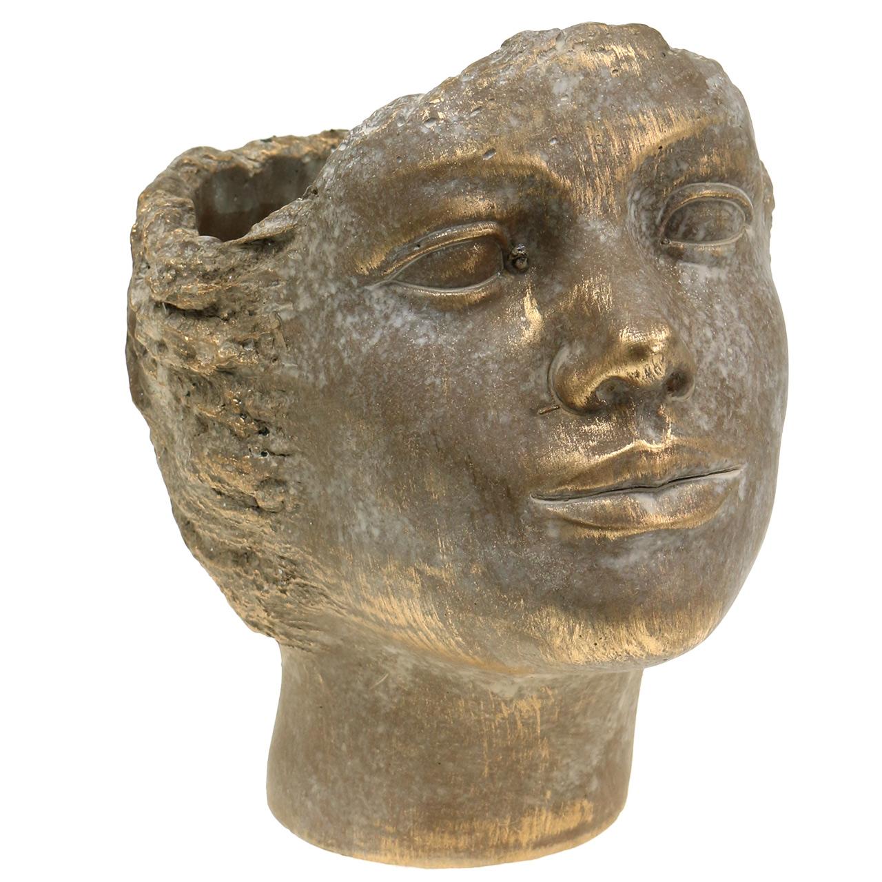 Buste Sur Pied Decoratif planteur de tête buste or 24cm