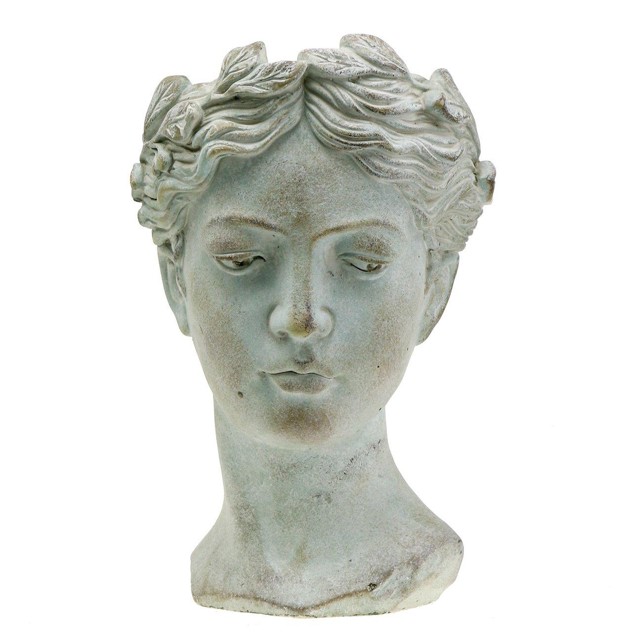 Buste Sur Pied Decoratif tête de plantation buste en pierre coulée h35,5cm