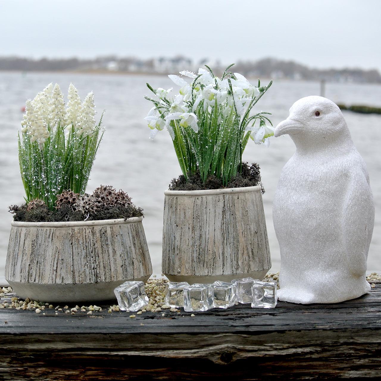 Jardinière vase béton design bois Ø15cm