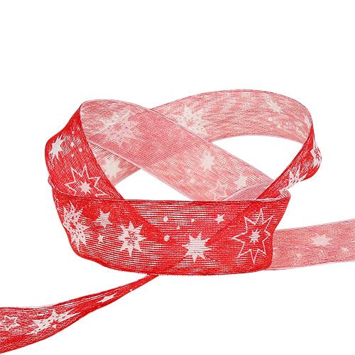 Ruban de Noël rouge avec motif étoile 25mm 20m