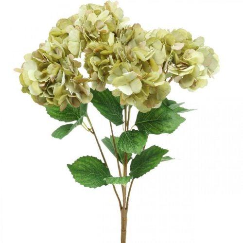 Bouquet d'hortensia artificiel vert, marron 5 fleurs 48cm