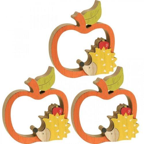 Figurine décorative automne, pomme avec hérisson, décoration bois 16,5 × 15cm 3pcs