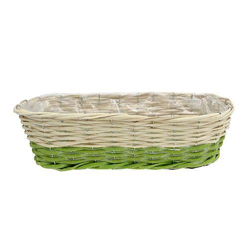 Jardinière de balcon ovale 48 x 18 cm H. 14 cm, vert-crème