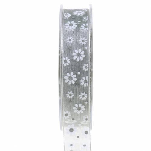 Ruban organza fleurs gris 20mm 20m