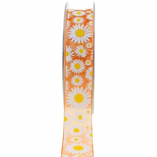 Ruban Organza orange avec fleurs 25mm ruban décoratif ruban décoratif 20m