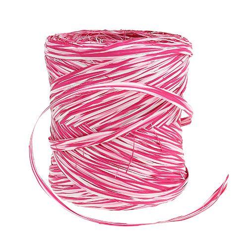Ruban Bast en cadeau rose-blanc 200m