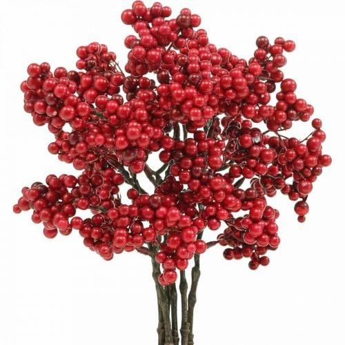 Branche décorative aux fruits rouges branche de baies décoration d'automne 26cm 6pcs