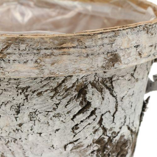 Pot en bouleau blanchi Ø13cm H11cm