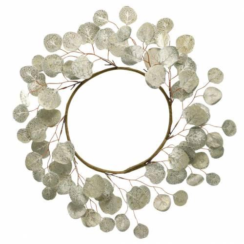 Couronne de feuilles artificielles champagne feuilles rondes Ø55cm