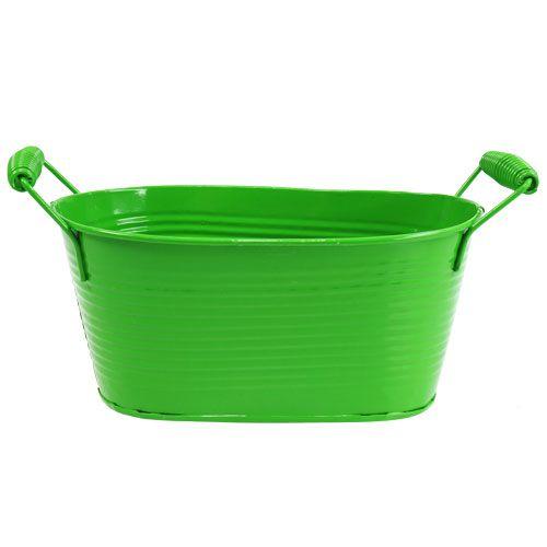 Bol en étain ovale vert 20cm x 12cm x 9cm