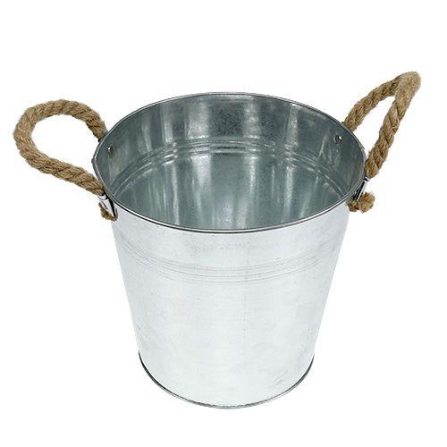 Seau en métal avec anses en corde brillant Ø22cm