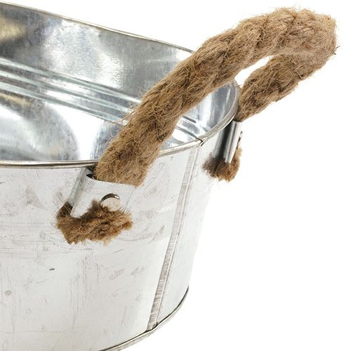 Bol en tôle avec anses en corde argent 22cm H10cm