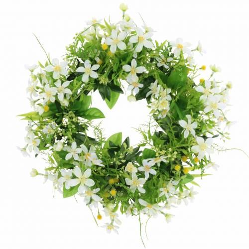 Couronne anémone / aneth vert, blanc Ø30cm