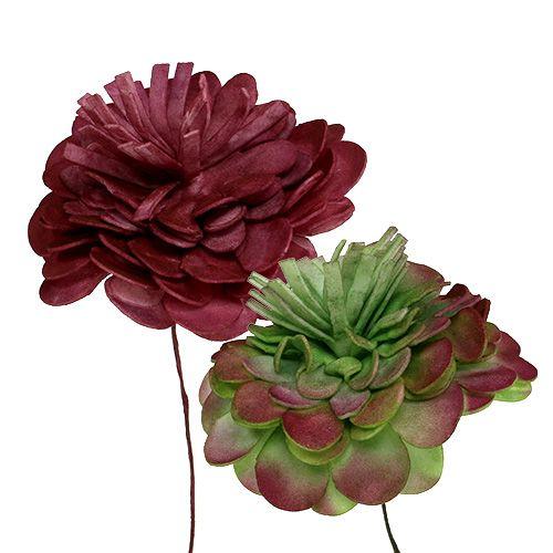 Fleur en mousse 7cm Vert/rouge foncé 12P
