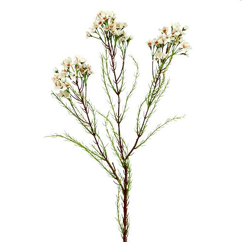 Branche fleurie 80 cm blanc-vert 3 p.