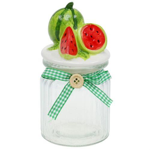 Bonbonnière en verre avec couvercle pastèque H. 15,5 cm