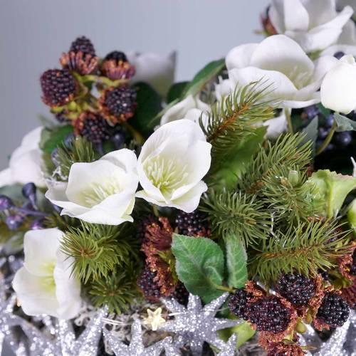 Bouquet de roses de Noël 39cm crème