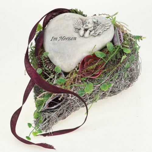 Cœur à garnir blanc en sarments de vigne 27 x 17,5 cm 1 p.