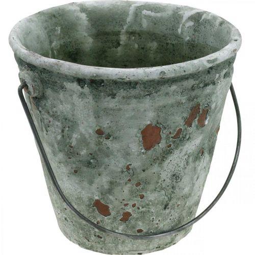 Seau décoratif, bac à fleurs, seau en céramique, aspect antique, Ø19.5cm H19cm