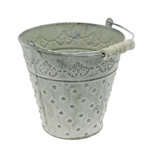 Seau décoratif, blanc lavé avec anse Ø20,5cm, jardinière, décoration en métal