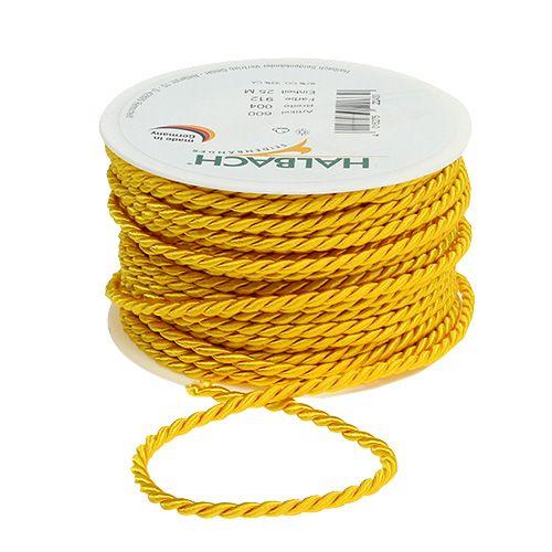 Cordelette décorative jaune 4 mm 25 m