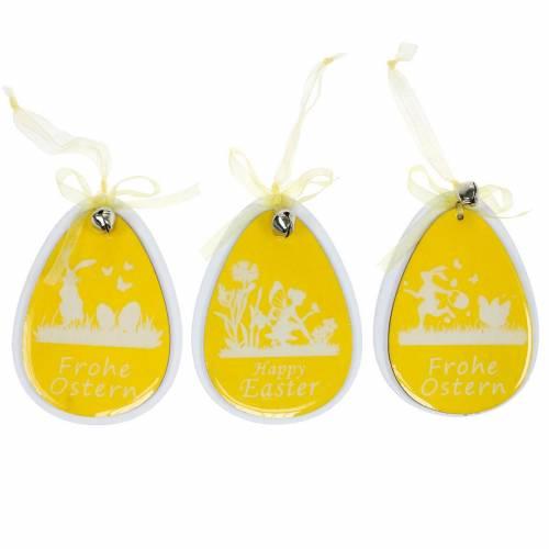 Oeufs de Pâques décoratifs à suspendre en bois blanc et jaune Décoration de Pâques Décoration de printemps 6pcs