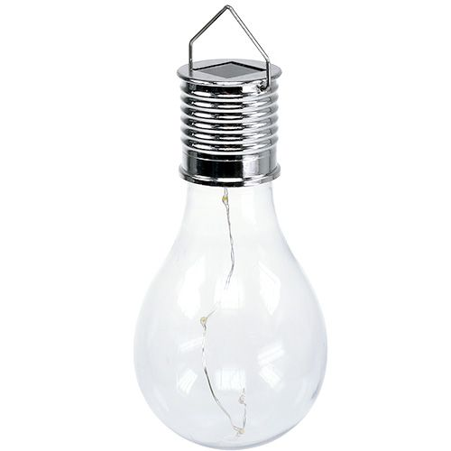 Ampoule solaire décorative à 4 LED blanc chaud 15 cm