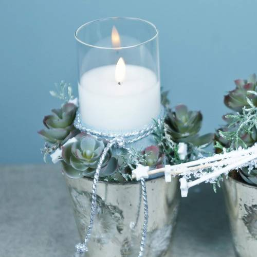 Bougie décorative vent LED dans un verre en vraie cire Ø10cm H10cm