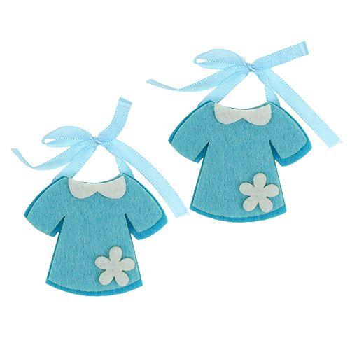 Déco de naissance robe en feutrine bleue 7 cm 20 p.