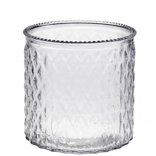 Lanterne décorative en verre Ø12cm H12,5cm