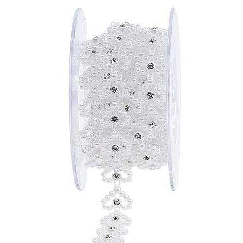 Ruban ornemental collier de cœurs blanc spécial mariage 1,3 cm 180 cm