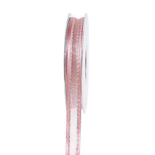 Ruban déco rose avec des bandes de lurex en argent 15mm 20m