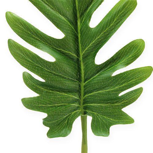 Feuilles décoratives de philodendron vertes l. 10 cm L. 40 cm 6p.