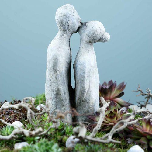 Figurine décorative couple embrassant pierre coulée gris 10 × 8cm H28cm