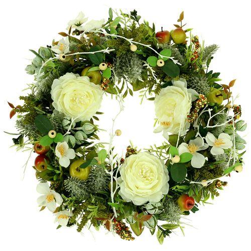Couronne décorative avec roses Ø 40 cm blanc, vert