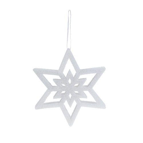 Suspension de Noël Étoile déco Blanc, enneigé 28cm L40cm 1pc