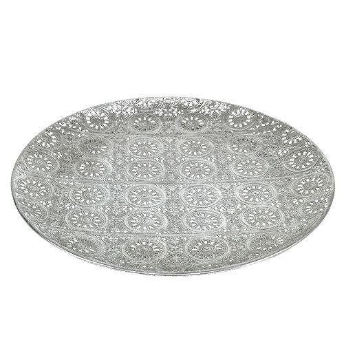 Assiette décorative argent avec ornement Ø 32 cm