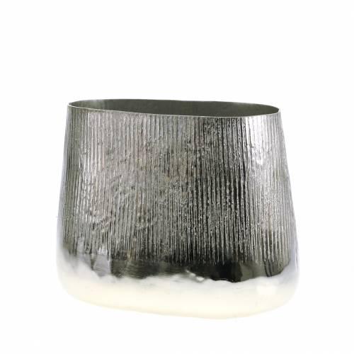 Pot décoratif ovale argenté 30 x 17 cm H. 24 cm