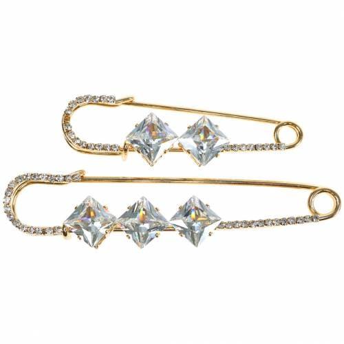 Broche de securite bijoux aiguille diamant or 2pcs